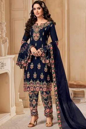 Navy Blue Georgette Embroidered Designer Salwar Suit With Dupatta