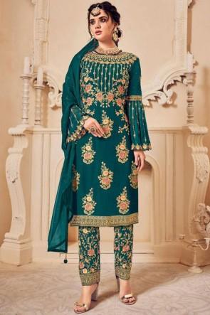 Georgette Green Embroidered Designer Salwar Suit With Dupatta