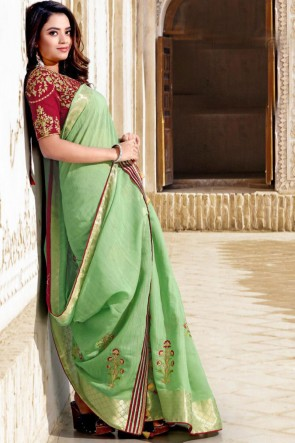 Stunning Sea Green Cotton Fabric Designer Embroidered Saree With Blouse