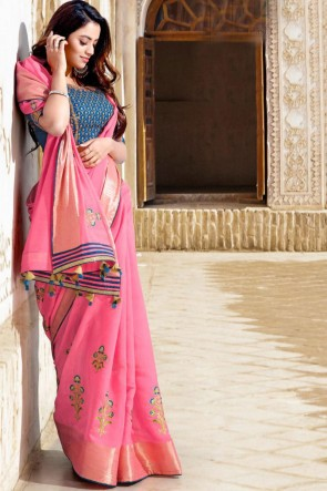 Cotton Fabric Embroidered Designer Pink Saree With Blouse