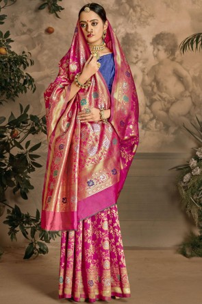 Optimum Weaving Jacquard Work Pink Art Silk Fabric Designer Saree And Blouse