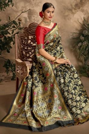 Art Silk Fabric Black Weaving Jacquard Work Designer Saree And Blouse