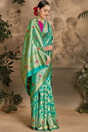 Stunning Green Art Silk Fabric Designer Weaving Jacquard Work Saree And Blouse