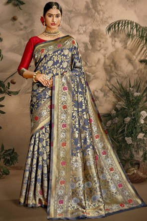 Art Silk Fabric Weaving Jacquard Work Designer Blue Color Saree And Blouse