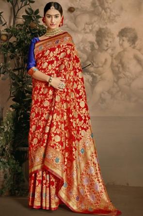 Weaving Jacquard Work Red Art Silk Fabric Saree And Blouse