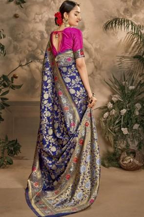 Blue Art Silk Fabric Weaving Jacquard Work Designer Saree And Blouse