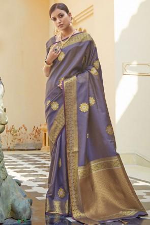 Optimum Weaving Jaqcaurd Work Purple Silk Fabric Designer Saree And Blouse