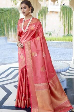 Silk Fabric Peach Weaving Jaqcaurd Work Designer Saree And Blouse