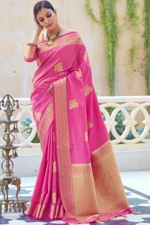 Silk Fabric Weaving Jaqcaurd Work Designer Pink Color Saree And Blouse