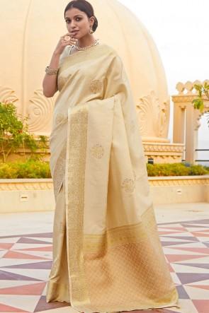 Cream Silk Fabric Weaving Jaqcaurd Work Designer Saree And Blouse