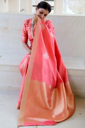 Silk Fabric Weaving Jaqcaurd Work Designer Pink Saree And Blouse
