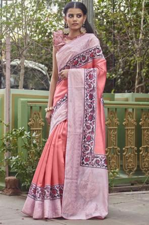 Optimum Digital Printed Baby Pink Fancy Fabric Designer Saree With Blouse