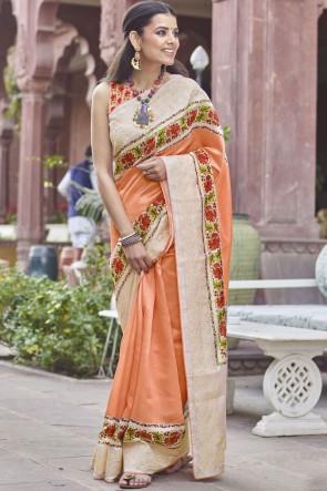 Fancy Fabric Orange Digital Printed Designer Saree With Blouse