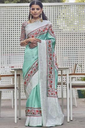 Stunning Aqua Fancy Fabric Designer Digital Printed Saree With Blouse