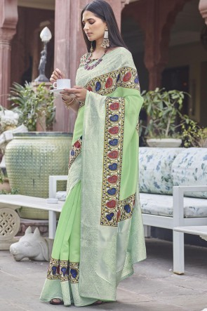 Digital Printed Green Fancy Fabric Saree With Blouse