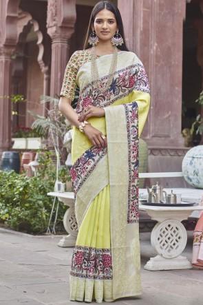 Stunning Yellow Fancy Fabric Designer Digital Printed Saree With Blouse