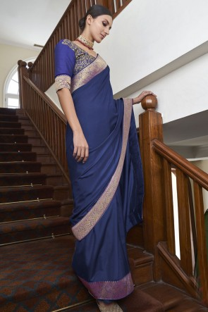 Silk Fabric Blue Weaving Lace Work Designer Saree With Blouse