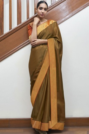 Stunning Copper Silk Fabric Designer Weaving Lace Work Saree With Blouse