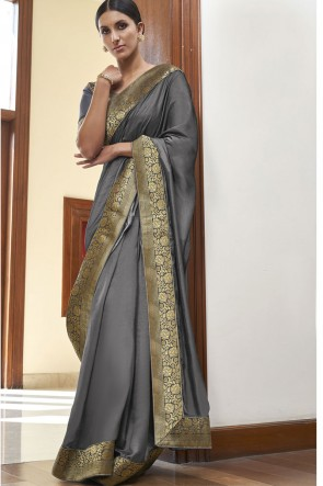 Silk Fabric Weaving Lace Work Designer Grey Color Saree With Blouse