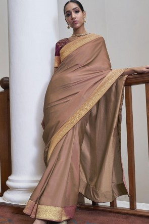 Weaving Lace Work Brown Silk Fabric Saree With Blouse
