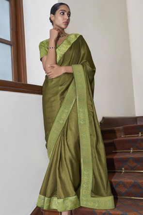 Silk Fabric Weaving Lace Work Designer Green Saree With Blouse
