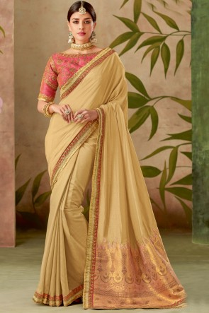 Stunning Beige Silk Fabric Designer Thread With Embroidery Work Saree With Blouse