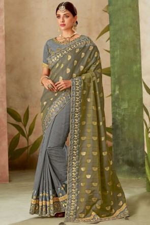Thread With Embroidery Work Grey Silk Fabric Saree With Blouse