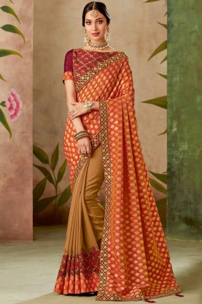 Silk Fabric Red Thread With Embroidery Work Designer Saree With Blouse
