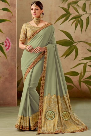 Silk Fabric Thread With Embroidery Work Designer Green Saree With Blouse