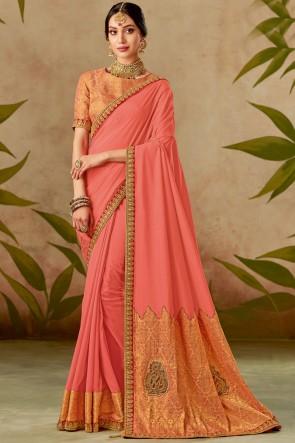 Optimum Thread With Embroidery Work Peach Silk Fabric Designer Saree With Blouse