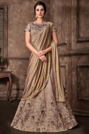 Optimum Embroidred Thread Work Beige Fancy Fabric Designer Saree With Blouse