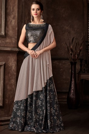 Stunning Black Fancy Fabric Designer Embroidred Thread Work Saree With Blouse