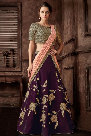 Purple Fancy Embroidred Thread Work Designer Saree With Blouse