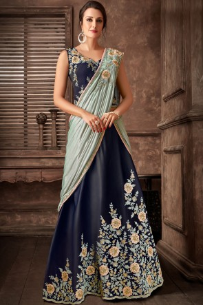 Stunning Navy Blue Fancy Fabric Designer Embroidred Thread Work Saree With Blouse
