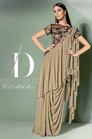 Optimum Embroidered Thread Work Beige Fancy Fabric Designer Saree With Blouse