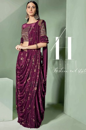 Stunning Violet Fancy Fabric Designer Embroidered Thread Work Saree With Blouse