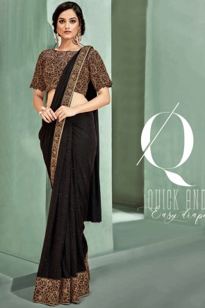 Stunning Brown Fancy Fabric Designer Embroidered Thread Work Saree With Blouse
