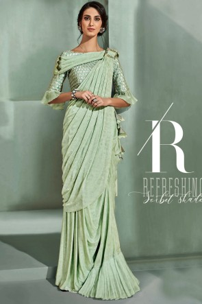Embroidered Thread Work Pista Fancy Fabric Saree With Blouse