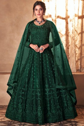 Embroidered Stone Work Green Butterfly Net Abaya Style Anarkali Suit With Butterfly Net Dupatta