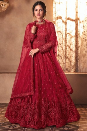 Red Butterfly Net Embroidered Stone Work Abaya Style Anarkali Suit With Butterfly Net Dupatta
