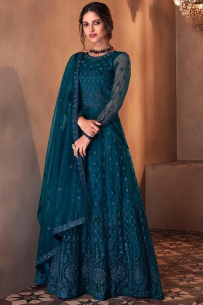 Abaya Style Blue Embroidered Stone Work Butterfly Net Anarkali Suit With Butterfly Net Dupatta