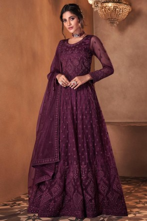 Purple Butterfly Net Embroidered Stone Work Abaya Style Anarkali Suit With Butterfly Net Dupatta