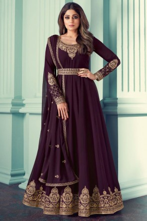 Wine Georgette Embroidered Stone Work Abaya Style Anarkali Suit With Georgette Dupatta