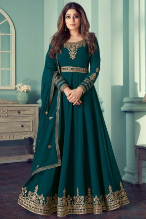 Abaya Style Rama Embroidered Stone Work Georgette Anarkali Suit With Georgette Dupatta