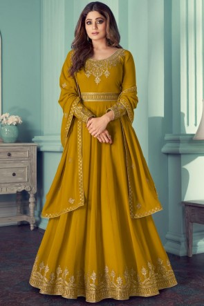 Musterd Georgette Embroidered Stone Work Abaya Style Anarkali Suit With Georgette Dupatta