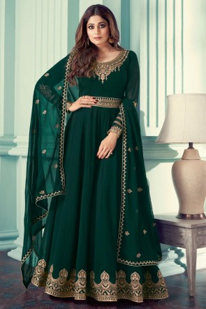 Green Georgette Embroidered Stone Work Abaya Style Anarkali Suit With Georgette Dupatta
