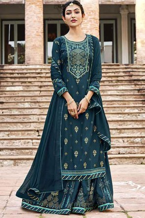 Embroidered Rayon Fabric Blue Plazzo Suit With Chinon Dupatta