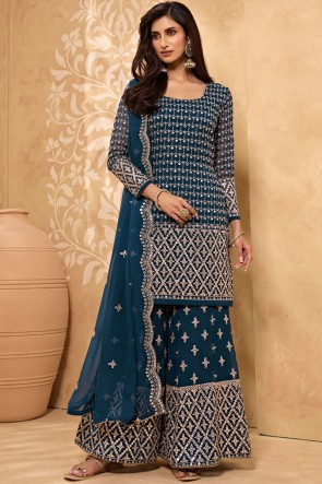 Teal Blue Zari Work Georgette Fabric Plazzo Suit With Lace Worked Georgette Dupatta