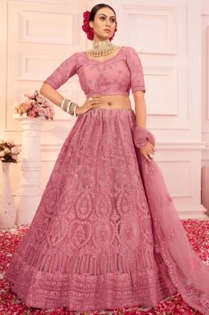 Net Fabric Designer Pink Embroidered Stone Work Lehenga Choli With Net Dupatta