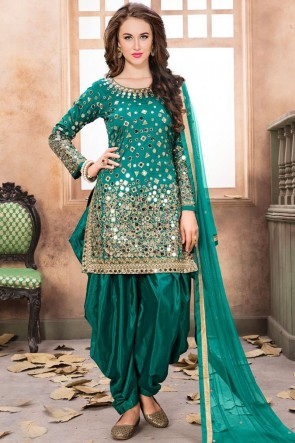 Bottel Green Embroidered Mirror Work Net Fabric Patiala Suit With Net Dupatta